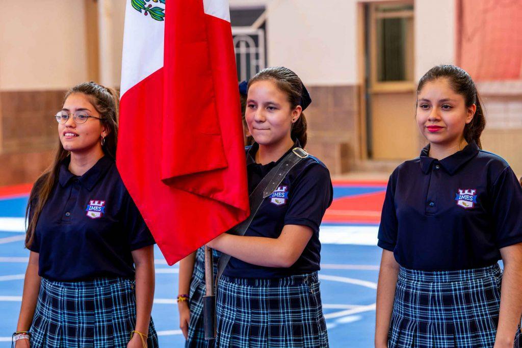 escuela en torreon honores a la bandera por alumnas de escuela colegio imes en torreon coahuila